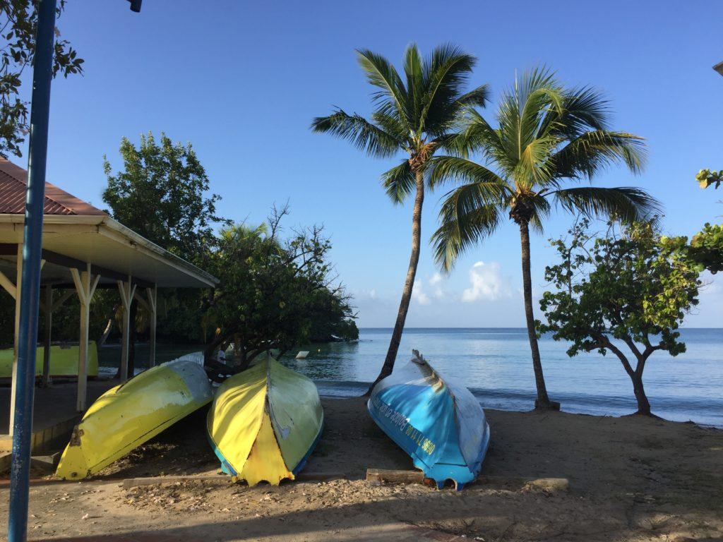 voyage, plage, bateaux de pêcheurs, Martinique